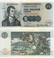 SCOTLAND  5 Pounds  Clydesdale Bank   P218d     Dated  19th June  2002    UNC - Ecosse