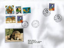 Belle Lettre De São Paulo (Zoológico De São Paulo), Adressée En Andorre, Avec Timbre à Date Arrivée Au Recto Enveloppe - Big Cats (cats Of Prey)