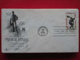 1965 USA - Scott # 1262 - Sokol Fitness Centres In The US, 100th Anniv. -  FDC (Sport) - First Day Covers (FDCs)