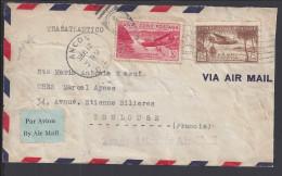 PANAMA - ZONE DU CANAL - 1947 -  TIMBRES DE P. AERIENNE SUR ENVELOPPE TRANSATLANTICO DE ANCON VERS TOULOUSE - FR - - Panama