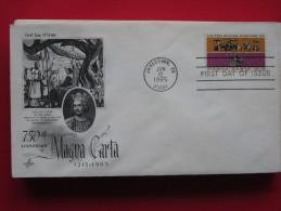 1965 USA - Scott # 1265 - Magna Carta 750th Anniv. -  FDC (Horses)(Militaria) - First Day Covers (FDCs)