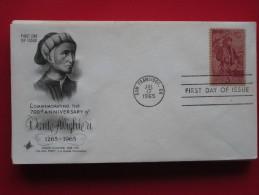 1965 USA - Scott # 1268 - Dante Alighieri Birth 700th Anniv. -  FDC (Literature)(Costumes) - First Day Covers (FDCs)