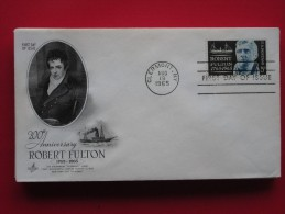 1965 USA - Scott # 1270 - Robert Fulton (Shipping Engineer) Birth 200th Anniv. -  FDC (Ships)(Costumes) - First Day Covers (FDCs)