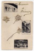 BRIANCON (Souvenir) -  Montage  Photos Et Fleurs (Edelweiss) Naturelles Collées  (83191) - Briancon