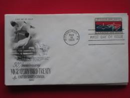 1966 USA - Scott # 1306 - US-Canadian Migratory Bird Treaty 50th Anniv. - FDC (Birds)(Maps) - First Day Covers (FDCs)