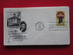 1966 USA - Scott # 1308 - Indiana Statehood 150th Anniv. - FDC (Coats Of Arms)(Maps) - First Day Covers (FDCs)