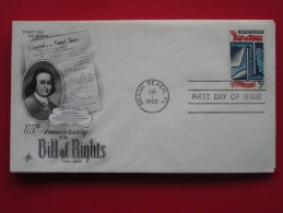 1966 USA - Scott # 1312 - US Bill Of Rights, 175th Anniv. - FDC - First Day Covers (FDCs)
