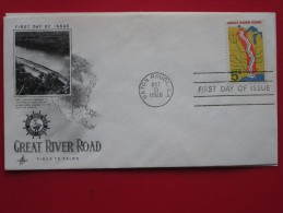 1966 USA - Scott # 1319 - Commemorating The Great River Road - FDC (Maps) - First Day Covers (FDCs)