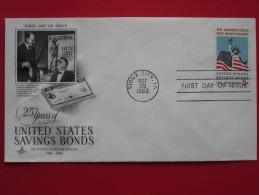 1966 USA - Scott # 1320 - US Savings Bonds 25th Anniv. - FDC (Flags) - First Day Covers (FDCs)