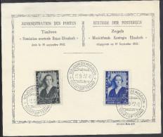 """BELGIQUE -  """" FONDATION MUSICALE REINE ELISABETH """" PREMIER JOUR D'EMISSION BRUXELLES 15-09-1937 - - ....-1951"""