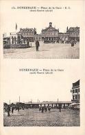 NORD  59  DUNKERQUE  PLACE DE LA GARE (AVANT ET APRES LA GUERRE) GUERRE 1939 45  DEUX VUES - Dunkerque