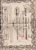 Strade Ferrate Livornesi, Emissione Di 70,000 Obbligazioni Da Lire 500 L'una, Matrice + Cedole Annullate. - Railway & Tramway