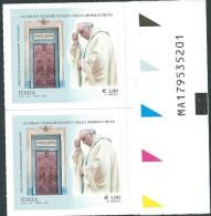 Italia 2015 ; Gibileo Della Misericordia Da € 1,00 : Codice Alfanumerico Su 2 Valori . Nuovi. - 6. 1946-.. Repubblica
