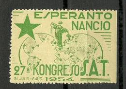 ESPERANTO 1954 Vignette Poster Stamp Kongress MNH - Esperánto