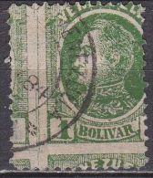 VENEZUELA 1880 Bolivar 1 Bolivar Green With Displaced Perforation !! SG 106 Y & T 28 - Venezuela