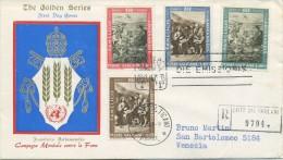VATICANO - FDC  GOLDEN SERIES 1963  - LOTTA ALLA FAME - ARTE - VIAGGIATA IN RACCOMANDATA - FDC