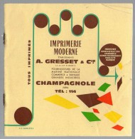Fascicule En 8 Pages GRESSET Champgnole 39 Jura Imprimerie - Références Clients - 1900 – 1949