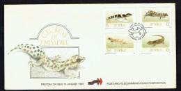 1989  Geckos  Complete Set On Single FDC - Zimbabwe (1980-...)