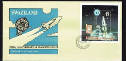 1983  Columbia Space Shuttle  Souvenir Sheet  On Official FDC - Swaziland (1968-...)