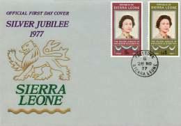 1977  Queen Elizabeth Silver Jubille  Complete Set On Single FDC - Sierra Leone (1961-...)