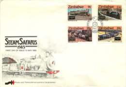 1985  Historical Steam Locomotives   Completee Set On Single FDC - Zimbabwe (1980-...)