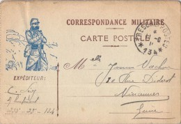 CORRESPONDANCE MILITAIRE ILLUSTRATION D UN SOLDAT / CACHET TRESORS ET POSTES 134 - Guerre 1914-18