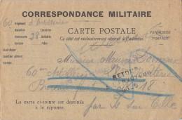 CORRESPONDANCE MILITAIRE / CACHET RETOUR A L ENVOYEUR - Guerre 1914-18
