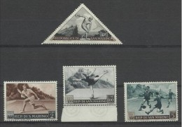 1953 San Marino  Saint Marin SPORT I° PROPAGANDA SPORTIVA 4 Valori: 1L, 2L, 5L, 100L  MNH** - Francobolli