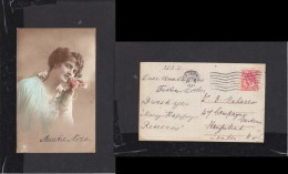 Pretty Young Lady With Pink Rose; Used For Birthday Greetings, 1921, AMSTERDAM  > London - Postcards