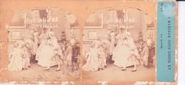 Vieille Photo Stereoscopique Scene Un Mariage Sous Louis XV Tres Animée - Stereoscopic
