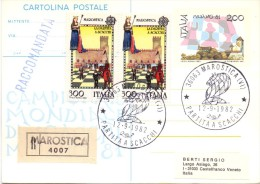 Marostica Chess Championship Registred Mail 1982 Special Cancel (G160081) - Scacchi