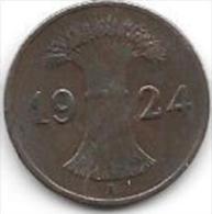 Germany  Weimar 1 Rente  Pfennig 1924 A  Km 30  Vf+ - [ 3] 1918-1933 : Republique De Weimar