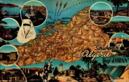 SOUVENIR D'ALGERIE..DEPT.ORAN...CPSM PETIT FORMAT - Landkarten