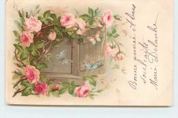 CARTE FANTAISIE - Papillons Et Roses. - Papillons