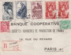 Recommandée Cachet Agence Rurale Chateau-Renault  A Yvert 680 - 764 -813-   -serie Des Métiers  823-824-826 En Paire - 1921-1960: Modern Period
