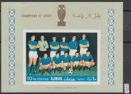 XG-AG668 AJMAN - Football, 1968 Champions Of Sport, Italy, Imperf. MNH Sheet - Non Classificati