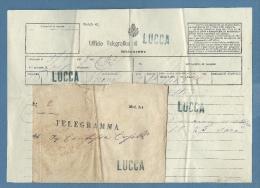 1878 - LUCCA Lineare Verde +UFFICIO TELEGRAFICO DI LUCCA Ovale Verde  SU TELEGRAMMA E BUSTA MOD.114 - Marcophilia