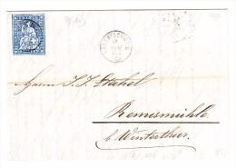 Heimat ZH BÄRENTSCHWEIL 18.7.1862 10Rp. Strubel Brief Nach Remismühle - 1854-1862 Helvetia (Non-dentelés)