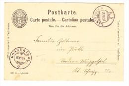 Heimat ZH VORDERTHAL 16.6.1897 Auf Postkarte - Entiers Postaux