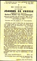 De Vreese Joannes - Van Ruysselberghe Barbara,Elodia ° Aalter 1881 + 1939 Lokeren    Lot 12335 - Images Religieuses