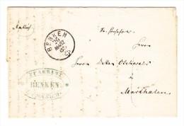 Heimat ZH BENKEN 26.3.1865 Auf Brief Nach Marthalen - Lettres & Documents