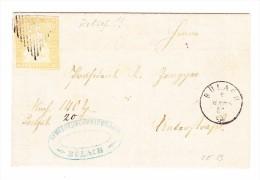Heimat ZH BÜLACH ?.3.1855 Fingerhutstempel 20Rp. Strubel #25B Auf Pfandschein Brief - 1854-1862 Helvetia (Non-dentelés)