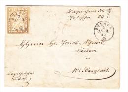 Heimat ZH BÜLACH 3.4.1852 Fingerhutstempel 20Rp. Strubel Auf Brief Nach Niederglatt - 1854-1862 Helvetia (Non-dentelés)
