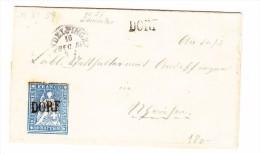 Heimat ZH DORF Balkenstempel ANDELFINGEN 161.12.1859 10Rp. Strubel Auf Brief - Lettres & Documents