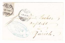 Heimat ZH ZÜRICH 4.6.1870 Sitzende 2Rp. Auf Vorderseite Mit Stempel Eidg. Schützenfest Zürich 1871 - 1862-1881 Helvetia Assise (dentelés)