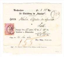 Heimat ZH ELGG 26.11.1861 Fingerhut Stempel Auf Nachnahme Streifband Nach Zell - 1854-1862 Helvetia (Non-dentelés)