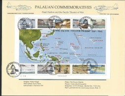 Palau. Scott # 299a-j, Large FDC Sheetlet Of 10. WW II In The Pacific. 1991 - Palau