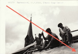 Grande Photo Signée Grand Duché De Luxembourg Guerre 40-45 WWII Ruines Bastendorf Tandel - Guerre, Militaire