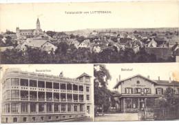 F 68460 LUTTERBACH, Bahnhof, Sanatorium, Pannorama, Deutsche Feldpost 1917 - Wittenheim