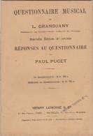 Questionnaire Musical 1914 L.Grandjany Professeur Conservatoire Nat. Musique Et  Réponses Paul Puget Les 2  Livrets TBE - Music & Instruments